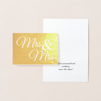 Mr & Mrs Word Art Save the Date Gold Foil Card