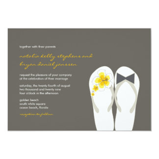 Mr & Mrs Yellow Flip Flops Beach Wedding Invite