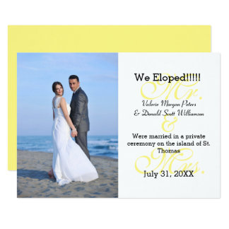Mr. & Mrs. Yellow We Eloped - Photo Announcement