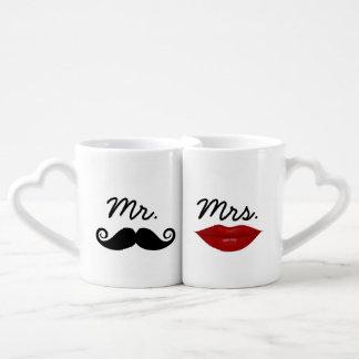 Mr. Mustache and Mrs. Lips with custom monogram Coffee Mug Set