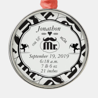 Mr. Mustache Lil Man Baby Boy Stats Silver-Colored Round Decoration