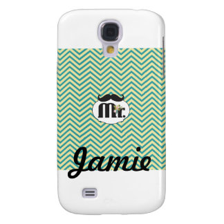 Mr. Mustache Yellow and Green Samsung Galaxy S4 Case