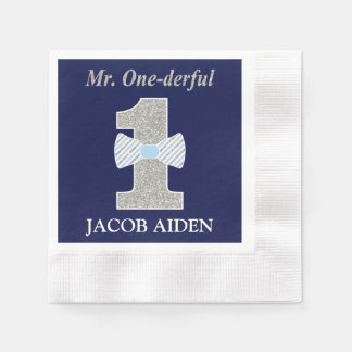 Mr. One-derful White Coined Cocktail Napkin Disposable Serviette