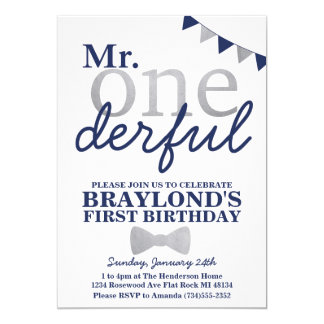 Mr Onederful Birthday Invitation (navy & silver)