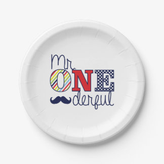 """Mr. ONEderful Birthday Party - Paper Plates 7"""" 7 Inch Paper Plate"""