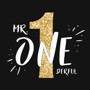 Mr Onederful Birthday T Shirt Boy Black Gold