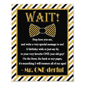 "Mr. ONEderful Guest Book Sign - 8"" x 10"" Photo"