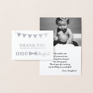 Mr Onederful Real Foil Thank You Card