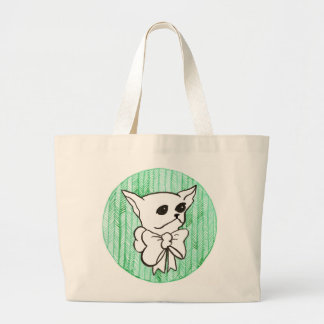 Mr. PiddlePoo the Chihuahua, a vision in green Large Tote Bag