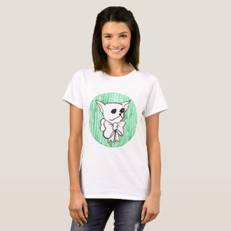 Mr. PiddlePoo the Chihuahua, a vision in green T-Shirt