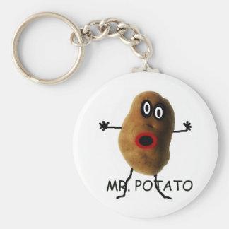 Mr Potato Cartoon Basic Round Button Key Ring