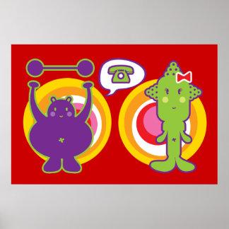 Mr. Purple & Miss Green Cute Cartoon Character Poster
