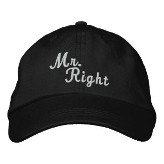 Mr Right Scroll Text Black And White Embroidered Baseball Cap