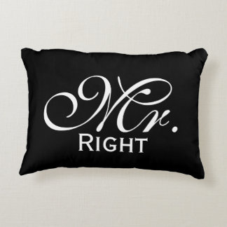 Mr Right Scroll Text In Black And White Decorative Cushion