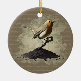 Mr. Robin Finds the Key, ornament Round Ceramic Ornament
