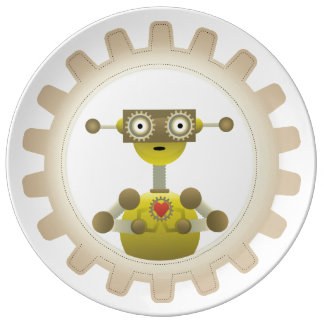 Mr. Robot with Steampunk Gear Heart Plate