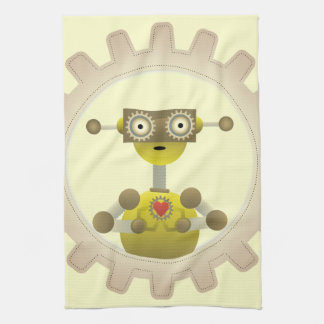 Mr. Robot with Steampunk Gear Heart Towel