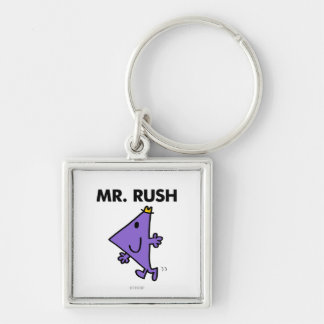 Mr. Rush | Quick Pace Silver-Colored Square Key Ring