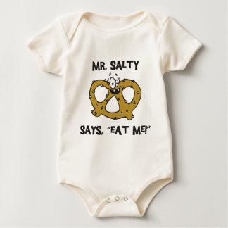 Mr Salty Says Eat Me Pretzel Baby Bodysuit