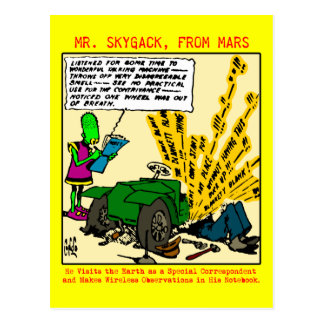 Mr. Skygack observes a broken-down automobile Postcard