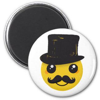Mr Smiley Mustache 6 Cm Round Magnet