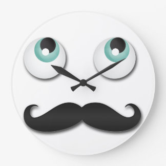 Mr stache large clock