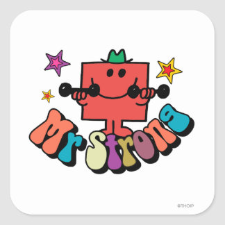 Mr. Strong | Colorful Lettering & Stars Square Sticker