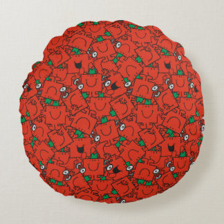 Mr Strong | Lifting Weights Red & Green Pattern Round Cushion
