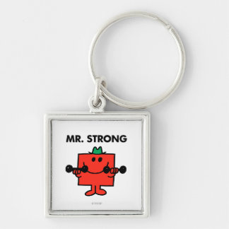 Mr. Strong | Lifting Weights Silver-Colored Square Key Ring