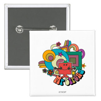Mr. Strong | Psychedelic Swirls, Stars, & Flowers 15 Cm Square Badge