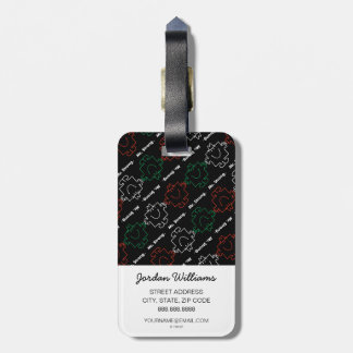 Mr Strong | Red, White & Green Pattern Luggage Tag