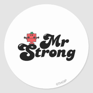 Mr. Strong | Weights & Bubble Lettering Classic Round Sticker