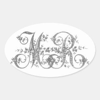 MR Wedding Monogram Oval Sticker
