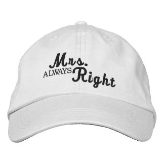 Mrs Always Right Scroll Text Black And White Embroidered Baseball Cap