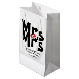 Mrs and Mrs Black Red Bold Modern Personalized Small Gift Bag