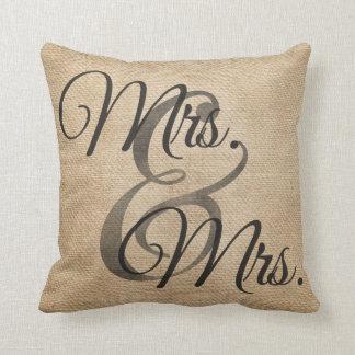 Mrs and Mrs Burlap lesbian Wedding Personalised Cushion