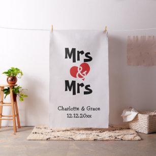 Mrs and Mrs Heart Lesbian Wedding Photo Backdrop