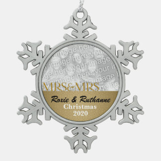 Mrs and Mrs Lesbian Christmas in Gold Snowflake Pewter Christmas Ornament