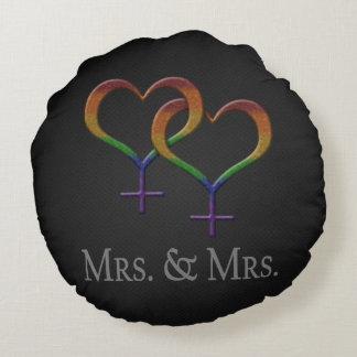 Mrs. and Mrs. Lesbian Pride Round Cushion