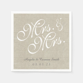 Mrs. and Mrs. Linen Rustic Wedding Paper Napkins Disposable Napkin