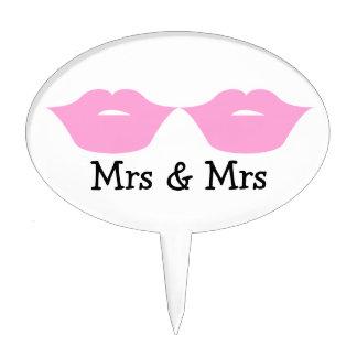 Mrs and Mrs Lipstick Kisses Wedding v2 Cake Toppers