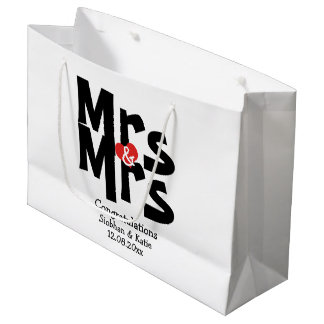 Mrs and Mrs Modern Personalized Black And Red Large Gift Bag