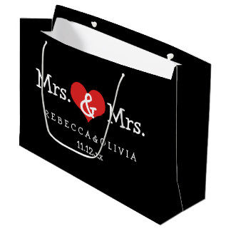 Mrs and Mrs Two Brides Wedding Customizable Large Gift Bag