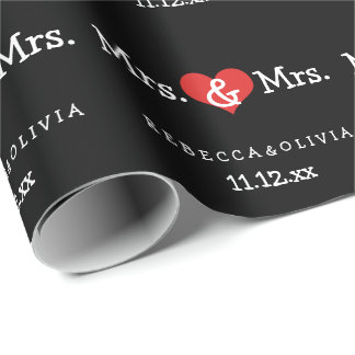 Mrs and Mrs Two Brides Wedding Wrapping Paper