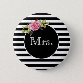 Mrs. Black and White Stripe with Flower Bouquet 6 Cm Round Badge