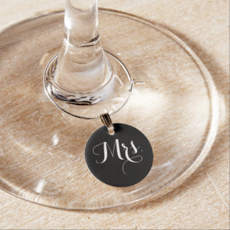 Mrs Bride Black And White Wine Glass Charm
