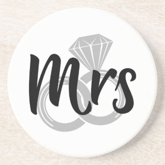 Mrs Bride Wedding Rings Coaster