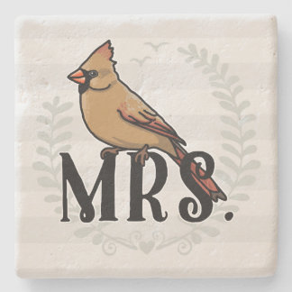 Mrs. Cardinal Mr and Mrs His and Hers Stone Beverage Coaster