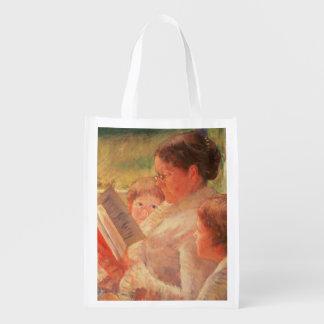 Mrs Cassatt Reading to her Grandchildren, 1888 Reusable Grocery Bag