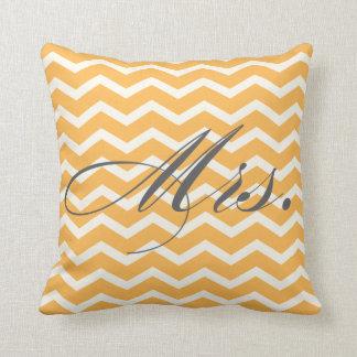 Mrs. Chevron Stripes American MoJo Pillow